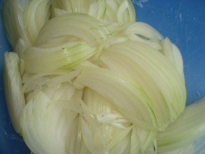 diced Onions into thin straight pieces
