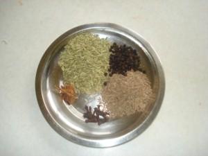 Ingredients for kurma ground paste